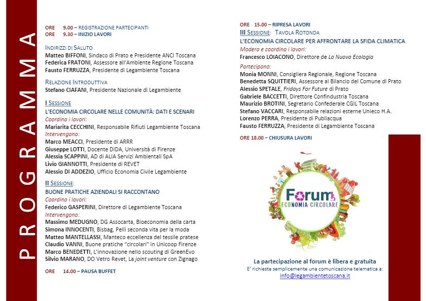 Forum Economia Circolare programma 2